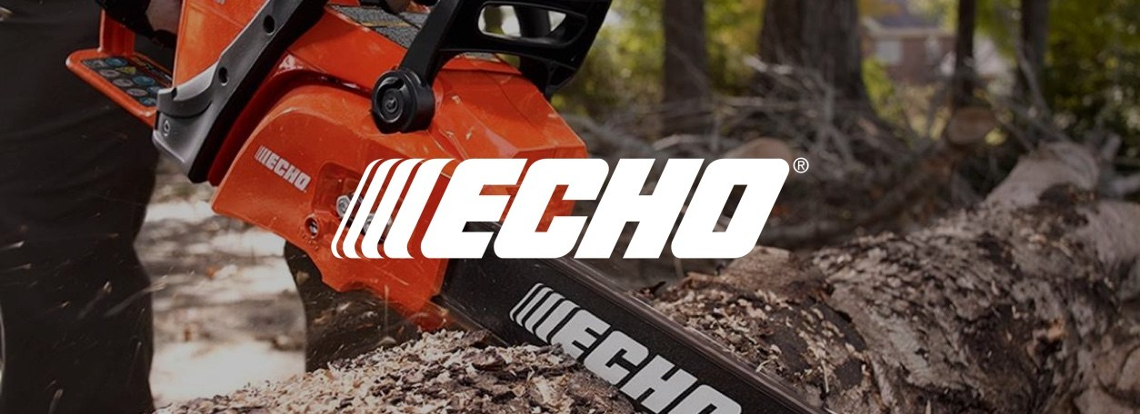 Echo chainsaw cutting fallen tree with logo
