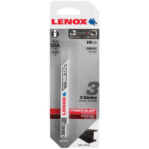 Lenox U-Shank 3-5/8 In. x 14 TPI Bi-Metal Jig Saw Blade, Thick Metal (3-Pack)