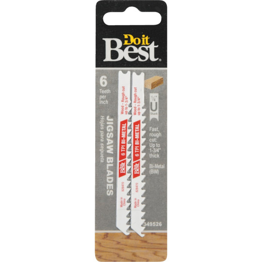 Do it Best U-Shank 3-5/8 In. x 6 TPI Bi-Metal Jig Saw Blade, Wood 1-3/4 In. Thick (2-Pack)