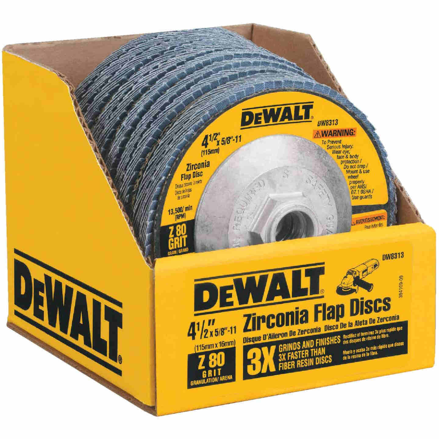 DeWalt 4-1/2 In. 80-Grit Type 29 High Performance Zirconia Angle Grinder Flap Disc Image 1