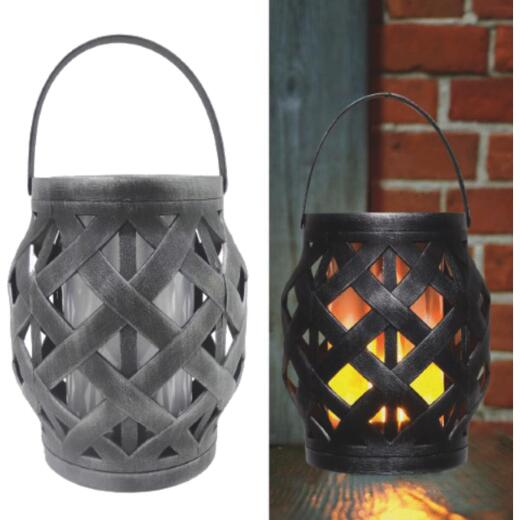 Alpine Black Diamond Weave LED Patio Lantern